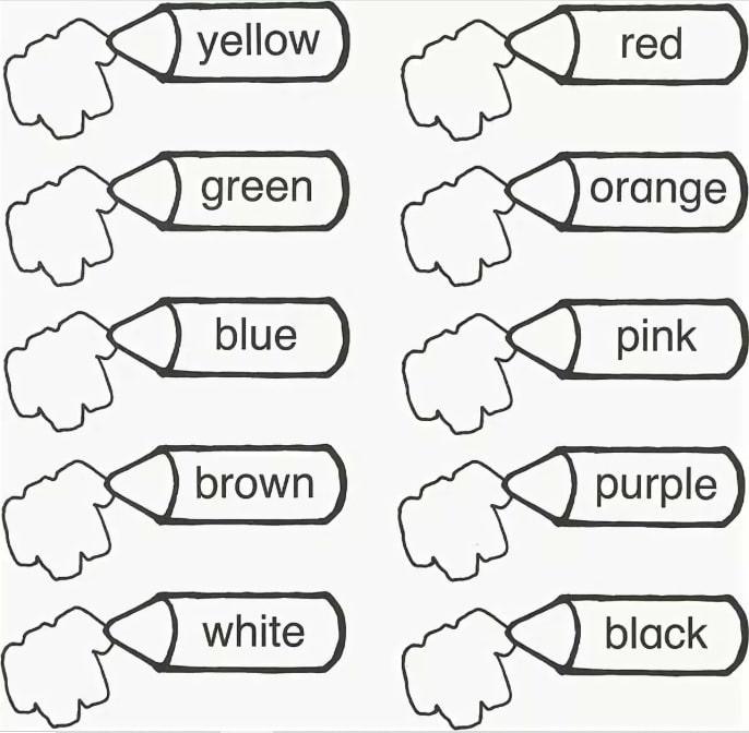 раскраска цвета на английском языке для детей